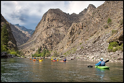 Kayakers near Ship Island Middle Fork of the Salmon, ID.