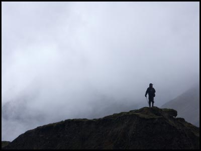 Hiker and fog.
