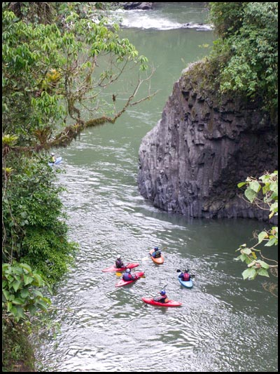 Kayakers on Rio Quijos.