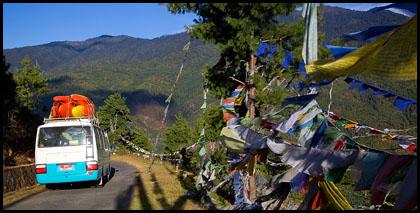 bus_prayer_flags_capital_Thimpu_Bhutan