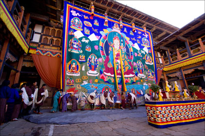 Festival_religious_offerings_Jakar_thangka_Bumthang_Bhutan.