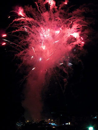 Any excuse for a party. Fireworks over Tena celebrating it's role in the discovery of the Amazon by the Spainiards.