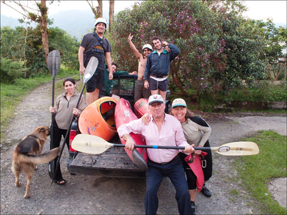 """The gang pretty excited about their first """"emersion"""" into kayaking."""
