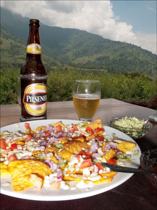 A farewell plate of nachos and a beer in Baeza while waiting for the bus back to Quito.