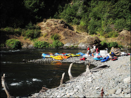 Our camp at Solitude on the lower Rogue River.