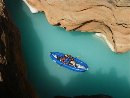 Joel in his HPIK (high performance inflatable kayak) at Havasu Creek.