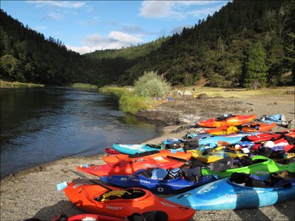 Kayaks and the view from camp at the end of day one.