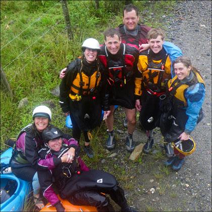 Group of kayakers in Ecuador.