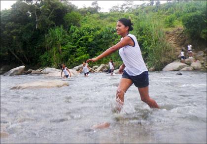 Girl_wading_river _Misahualli