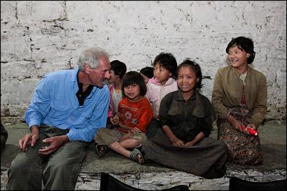 Bhutanese girls and tourist.