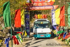 bus, kayaks, arch, buddha, celebration