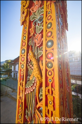 column, wood, carving, colorful, Bhutan