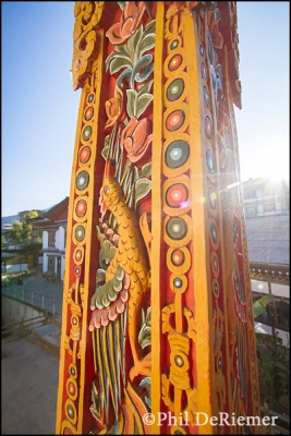 column, wood, carving, colorful, Bhutan