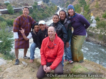 We work with an amazing and hard working crew. Karma in his gho is our main man and cultural guide. Expert kayak guide Kali comes to work with us from Nepal. Nima gets our boats to and from the rivers. San-ta our singing bus driver, literally holds our lives in his hands. Bhutan's best kayak guide, Thinley, has worked with us more than anyone! Mary brings her joy, and Phil, who orchestrates everything! Thanks guys for al l your hard work!