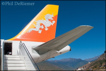 Druk air, plane, tail, Paro, Bhutan