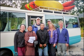 group, kayaks, bus, Trongs, Bhutan