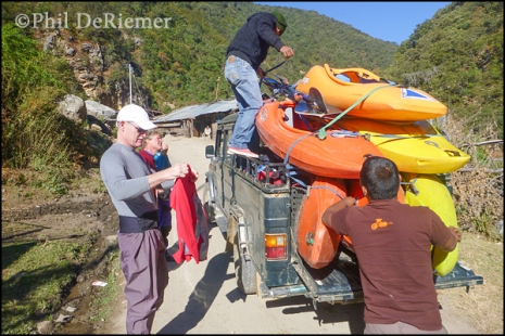 vehicle, loading,kayaks, Bhutan