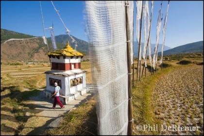 Prayer flags, wheels, chorten, Bhutan