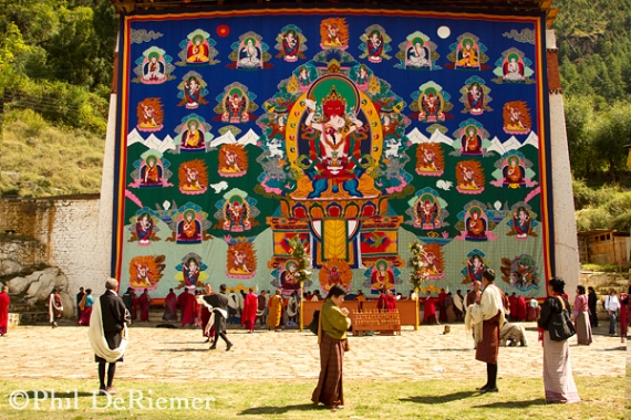 The Thangka of Paro Dzong on display just outside the fortress walls.