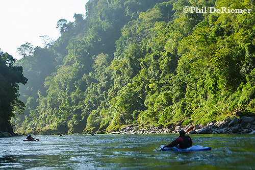Paddling the Drangme Chu en route to the border with India. It was starting to fel pretty tropical.